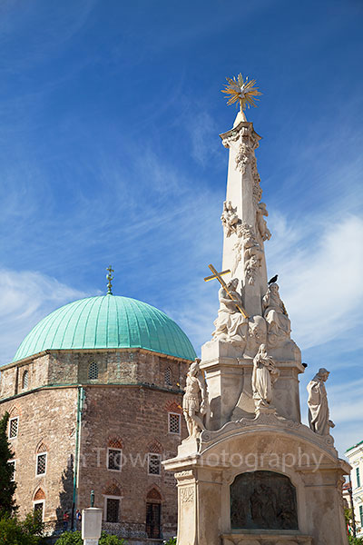 Mosque Church and Trinity Column, Pecs