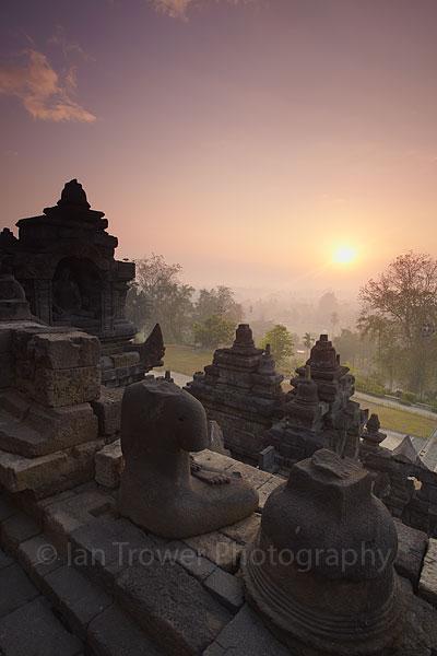 Borobudur temple at sunrise, Java