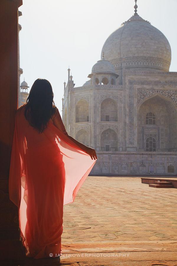 Woman in sari at Taj Mahal, India