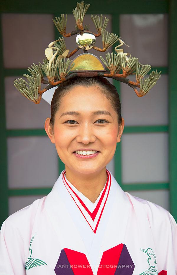 Priestess at Sumiyoshi Temple, Osaka, Japan