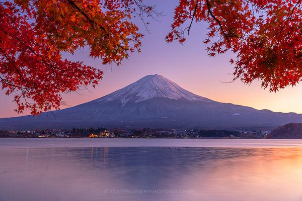 Mount Fuji and Lake Kawaguchi at sunset, Japan