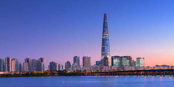 Lotte Tower at sunset, Seoul, South Korea