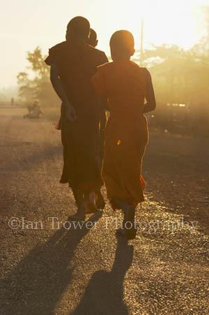 Monks At Dawn, Champasak