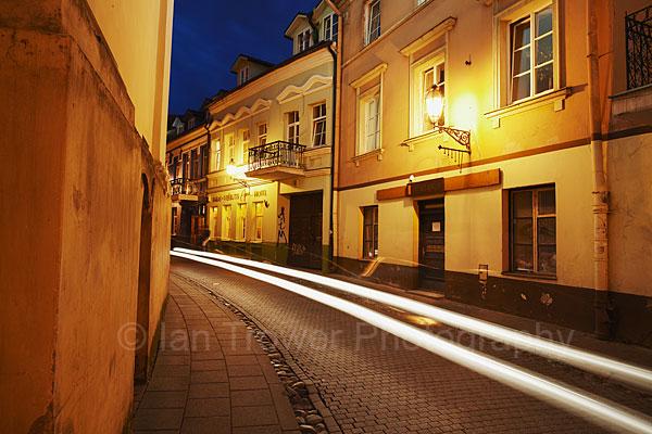 Light Trails In Old Town, Vilnius