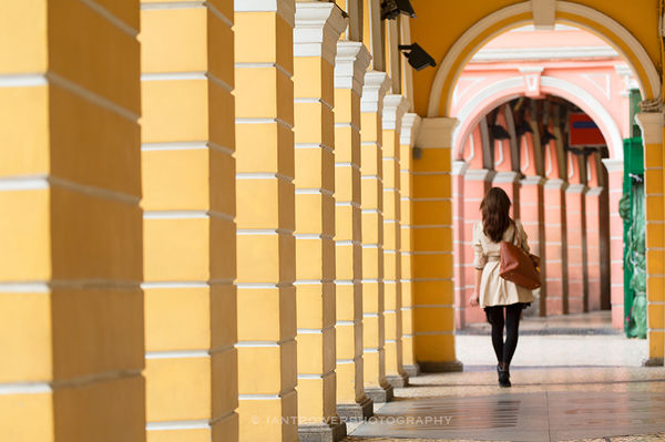 Woman walking in Senado Square, Macau
