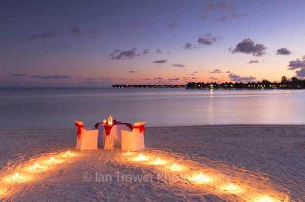 Sunset dining at Olhuveli Resort, Maldives