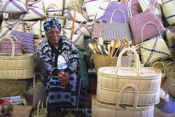 Basket seller in market, Maputo, Mozambique