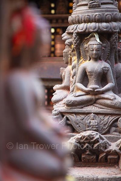 Statues at Swayambhunath Stupa, Kathmandu