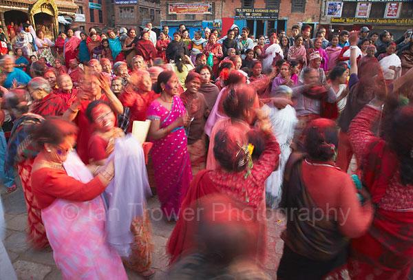 Women celebrating Holi, Bhaktapur