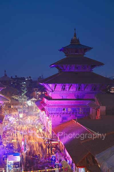 Durbar Square at dusk, Patan
