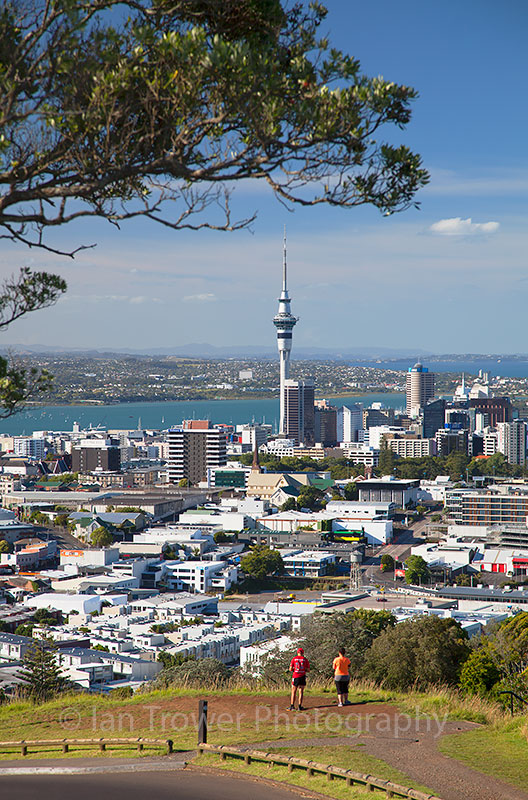 Couple enjoying view of Auckland from Mount Eden