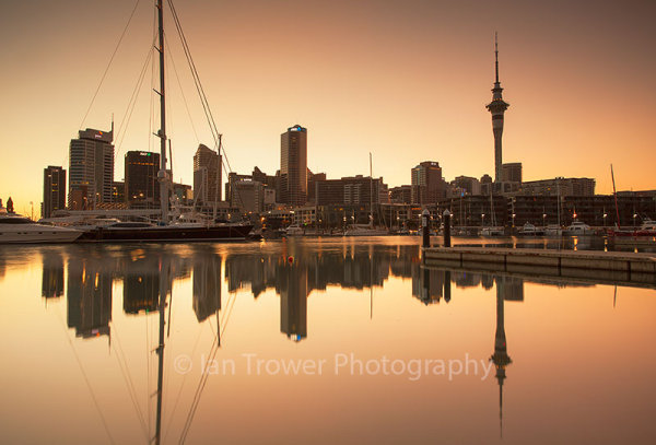 Viaduct Harbour and Auckland skyline at dawn