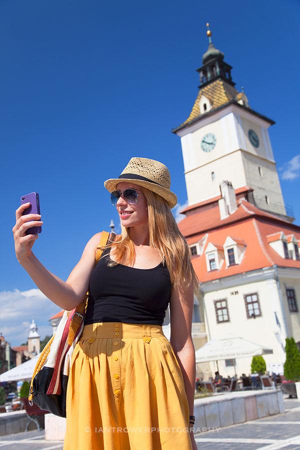 Woman in Main Square, Brasov, Romania