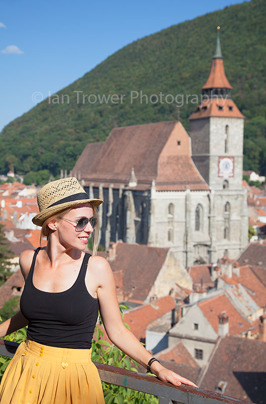 Woman enjoying view of Brasov, Romania