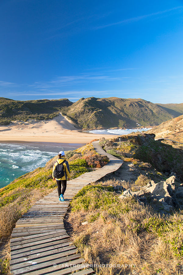 Woman hiking in Robberg Nature Reserve, South Africa