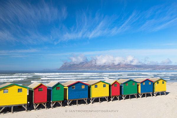 Colourful huts, Muizenburg beach, Cape Town, South Africa