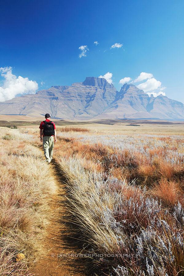 Man hiking in Drakensberg mountains, South Africa