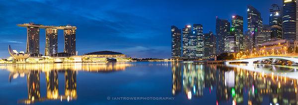 Skyline at dusk, Singapore