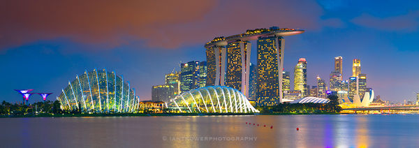 Gardens by the Bay and Marina Sands at sunset, Singapore