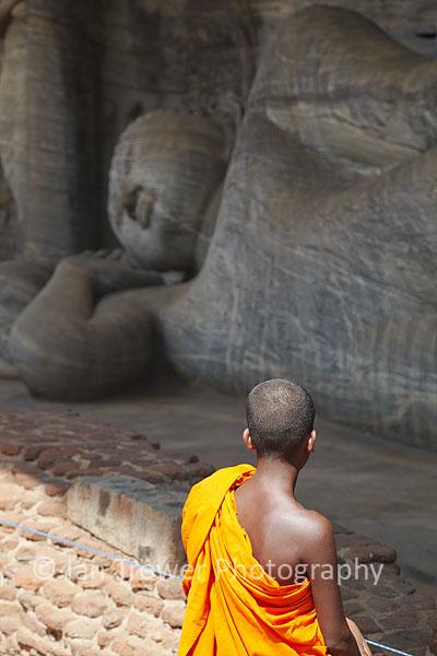 Monk at Gal Vihara, Polonnaruwa