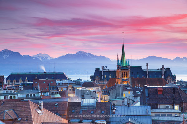View of Lausanne at sunset, Switzerland