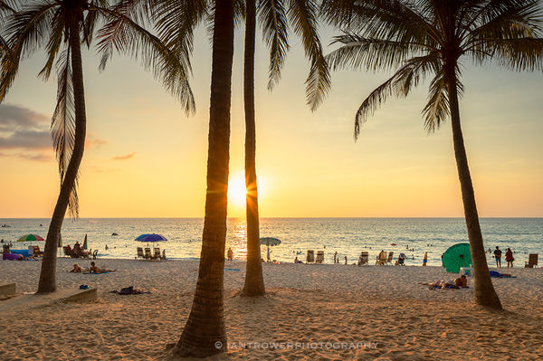 Surin beach at sunset, Phuket, Thailand
