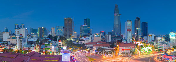 Ho Chi Minh City skyline at dusk, Vietnam