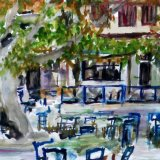 Kazaviti village square, Thassos, Greece