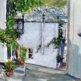 Panagia village lane with flowerpots, Thassos, Greece