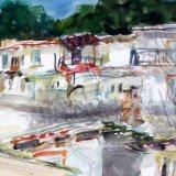 Panagia village verandahs, Thassos, Greece