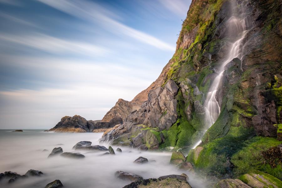 tresaith waterfall landscape