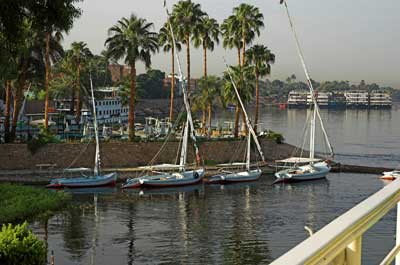 Feluccas berthed on the Nile