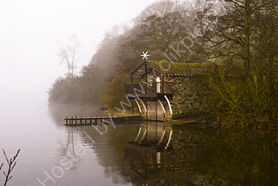 Misty Boat House on the Lake