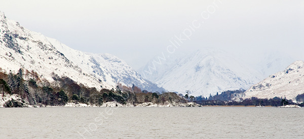 Snow on the hills at Ullswater