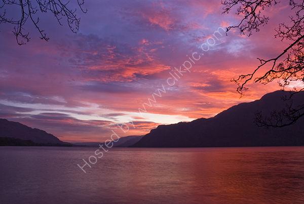 Deep red and purple skies over Lake Ullswater