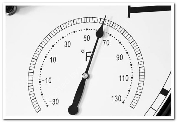 Thermometer dial on clock face
