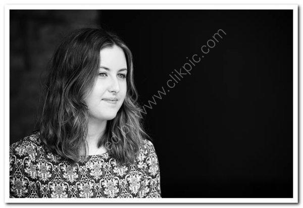 Monochrome portrait of a young woman