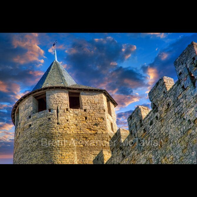 Carcassonne Castle Tower at Sunset