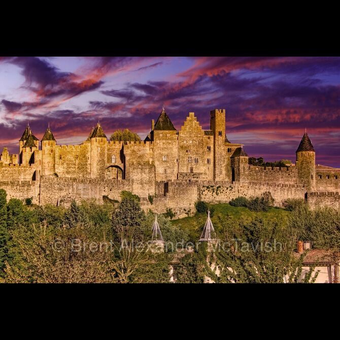 Walled City of Carcassonne at Sunset