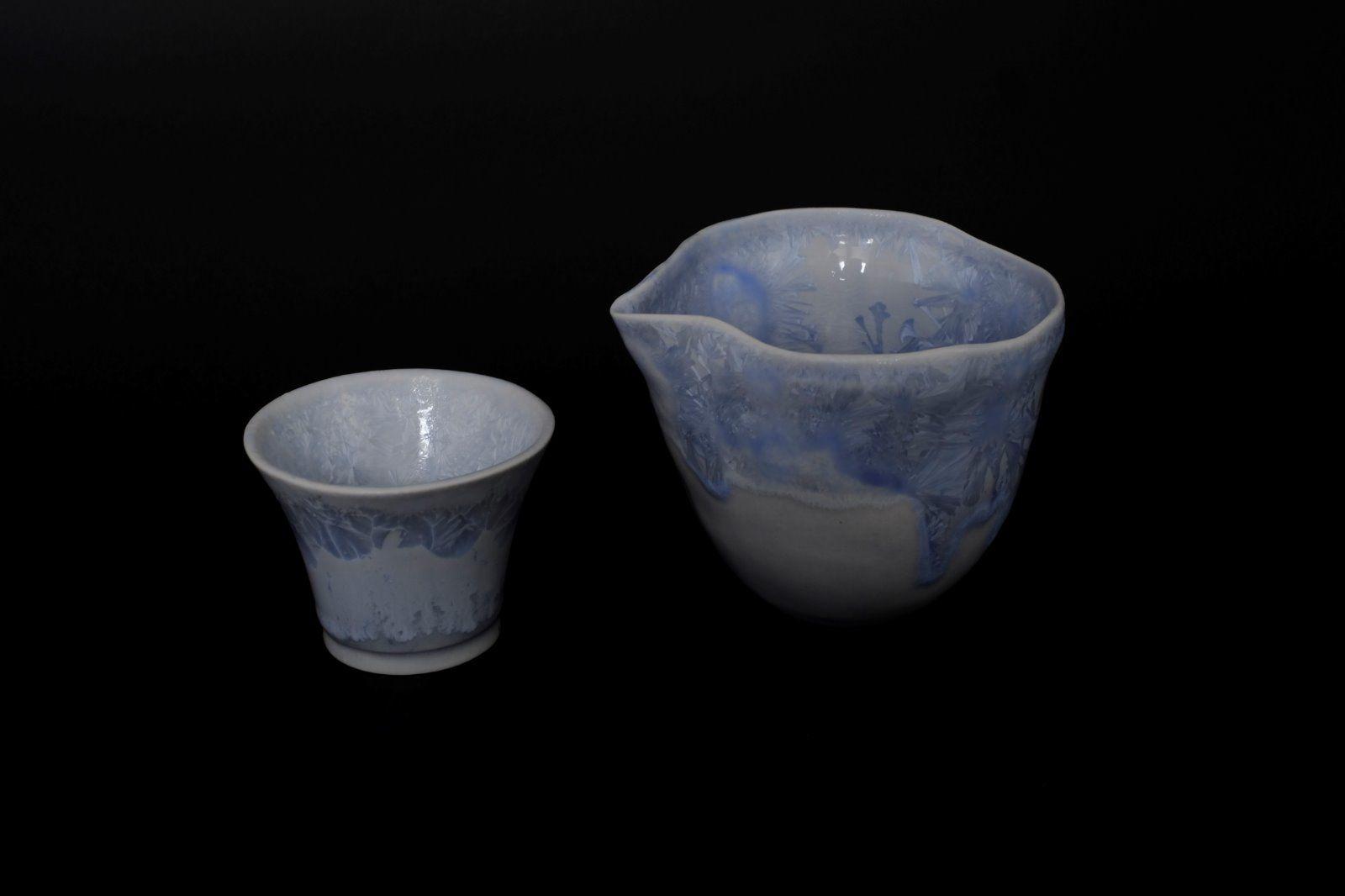 silver blue katakuchi & ochoko