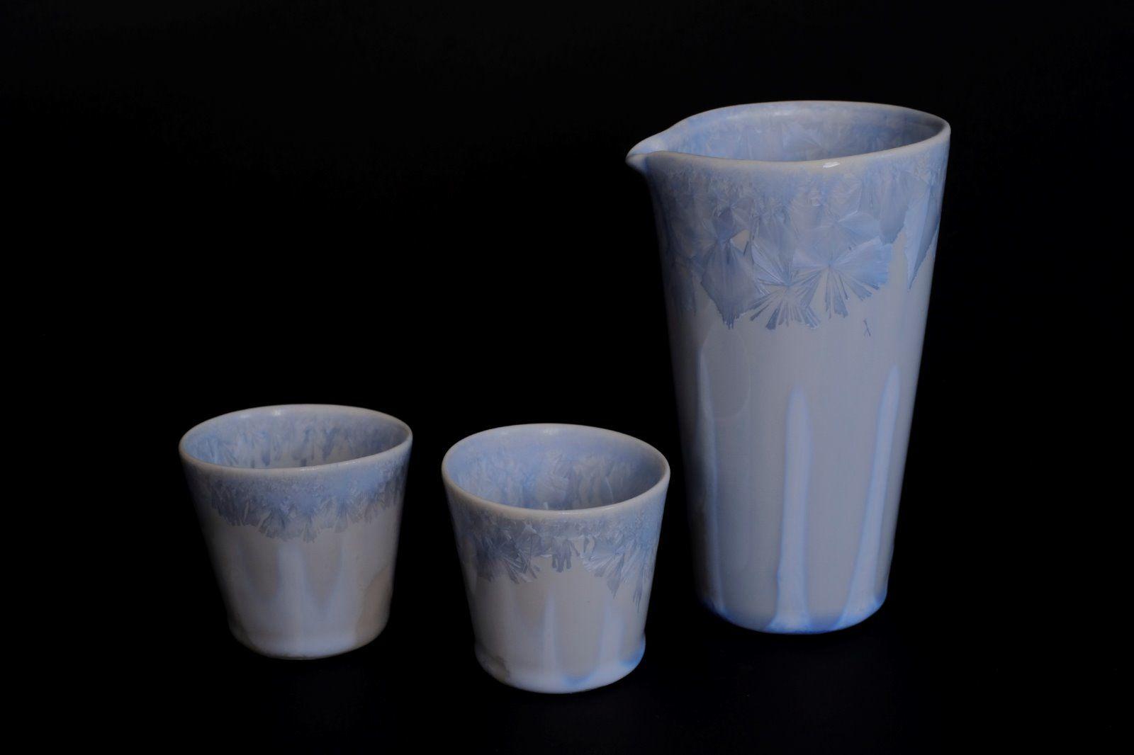 silver blue katakuchi & sake cups
