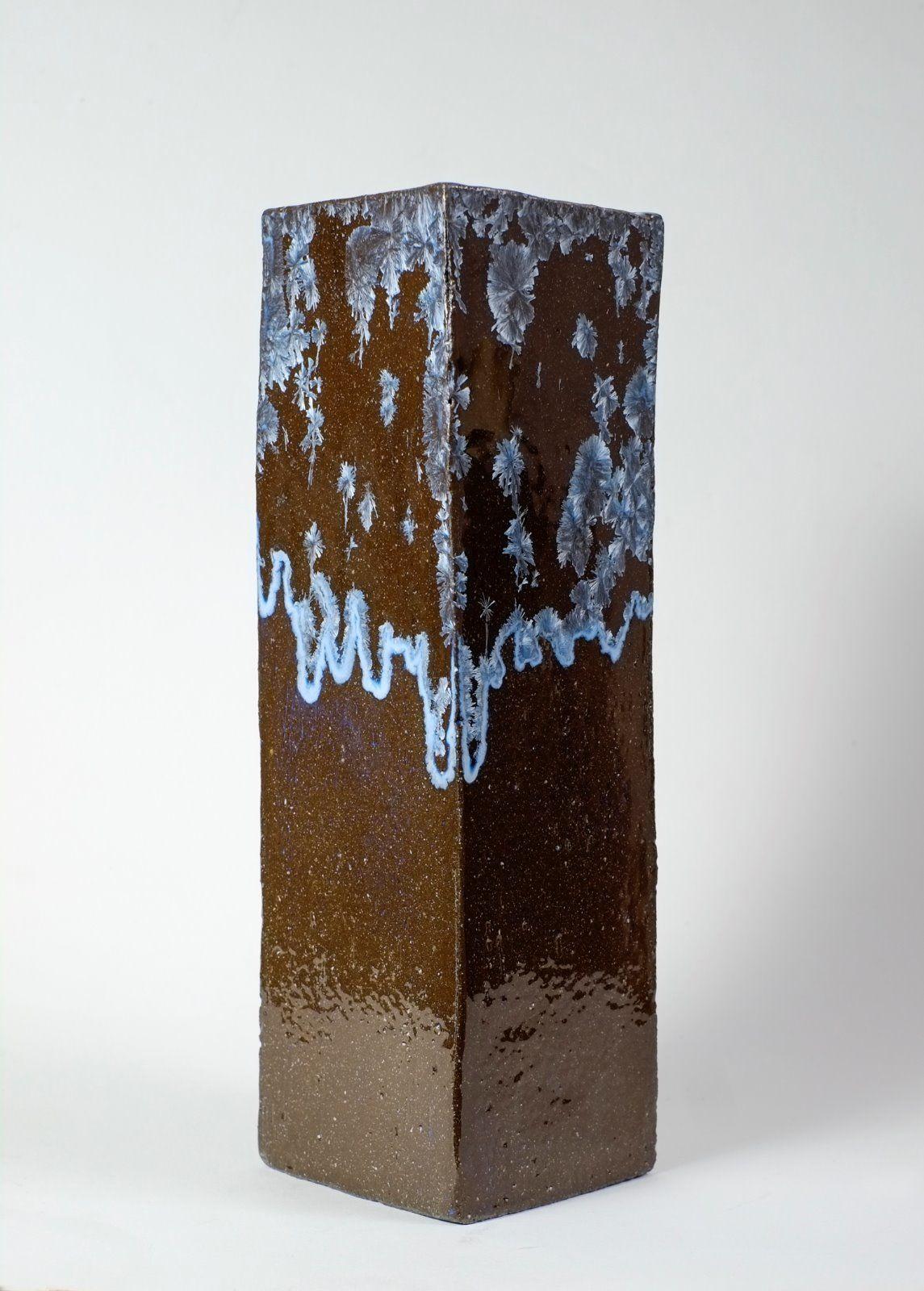 silver blue square vase