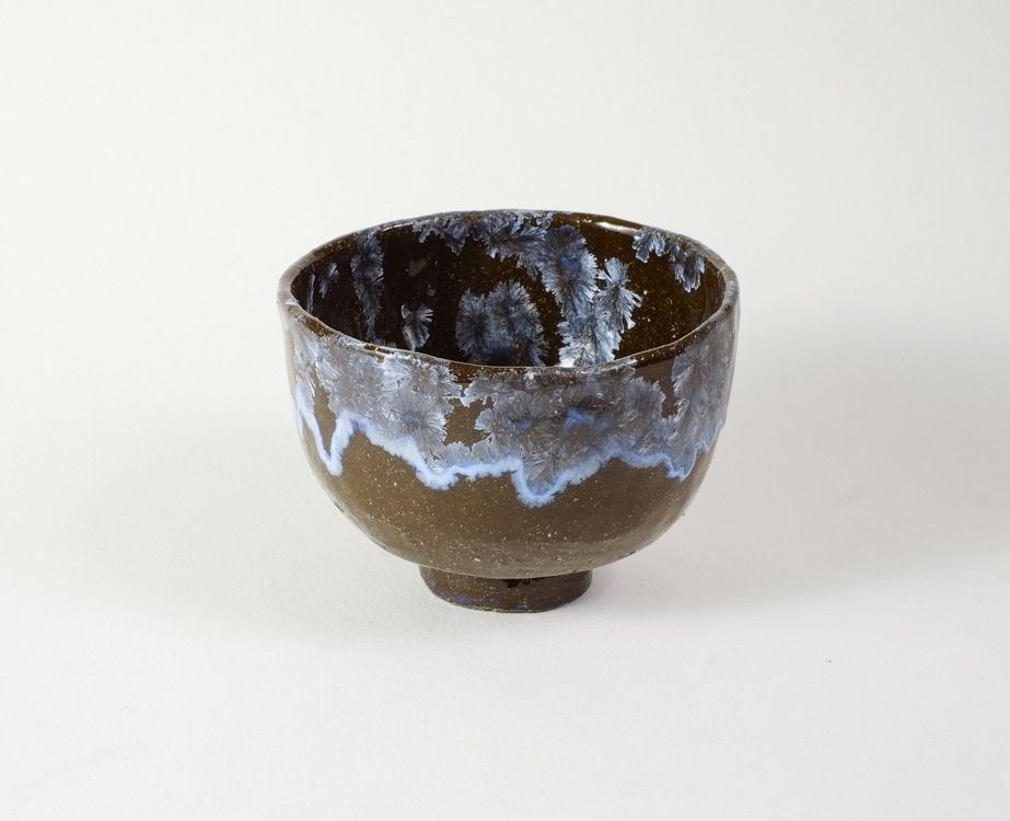 silver blue tea bowl