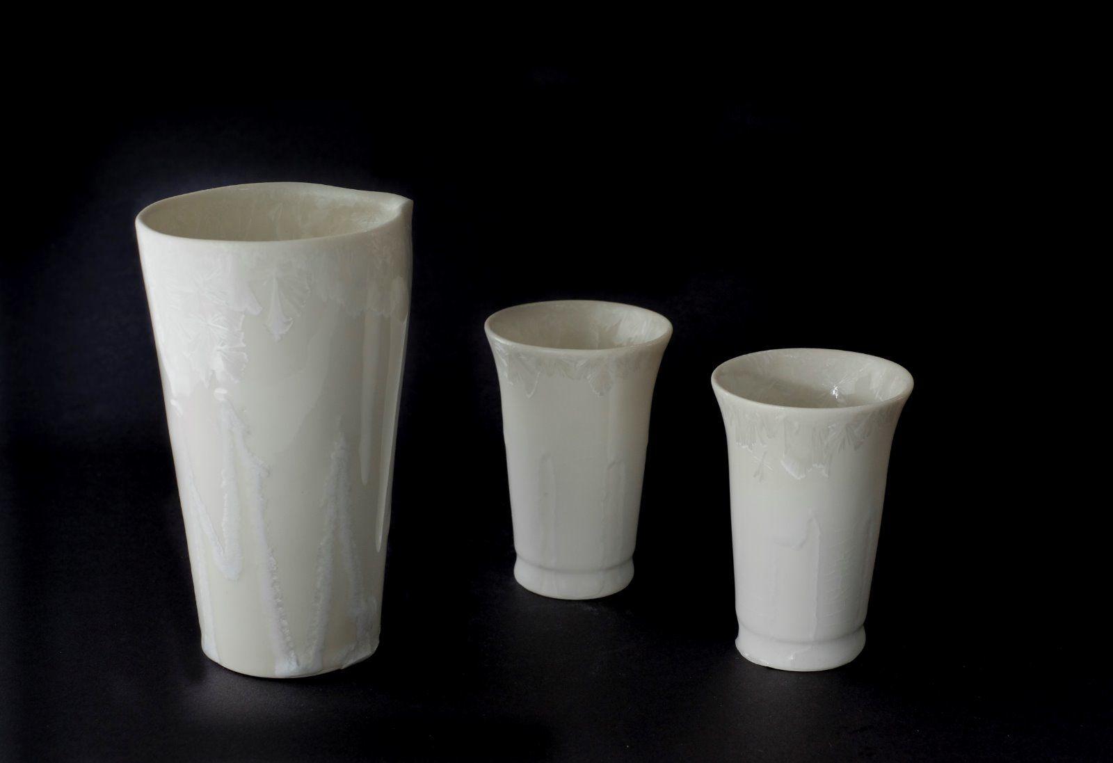 white katakuchi & sake cups