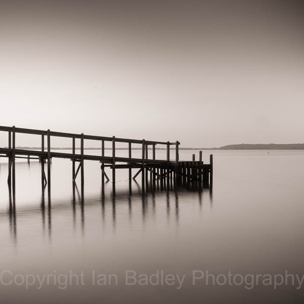 Mudeford Harbour pontoon at dawn, Dorset, England