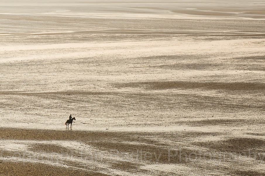 Horse rider on the beach on the Baie se la Frenaye, Brittany, France