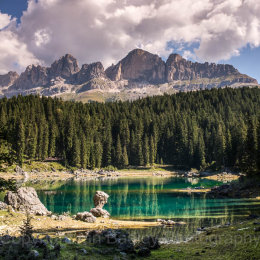 129 Emerald lake and mountains, Dolomites, Italy