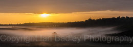 Mist on the moor at sunrise in summer, in the New Forest National Park, Hampshire, England