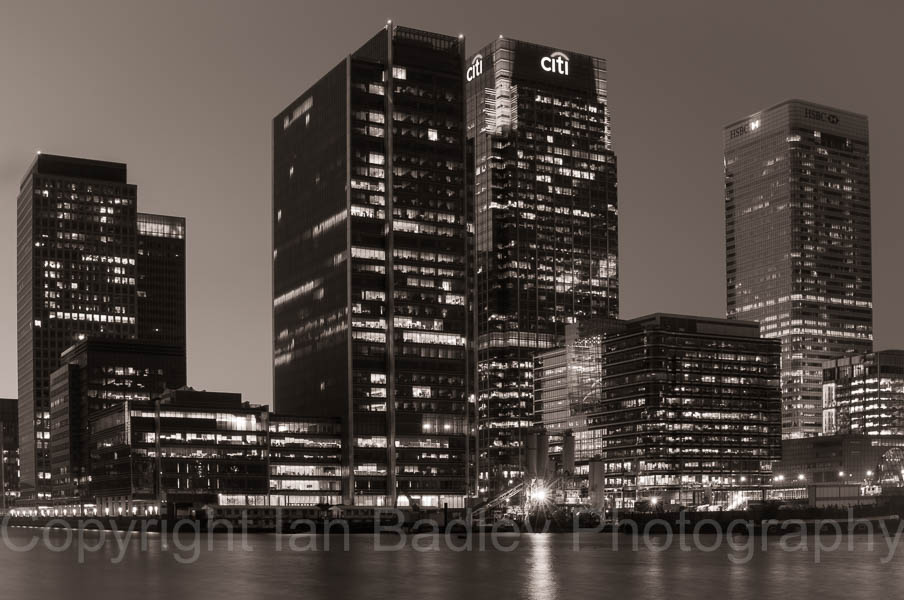 Canary Wharf buildings at twilight, London, England