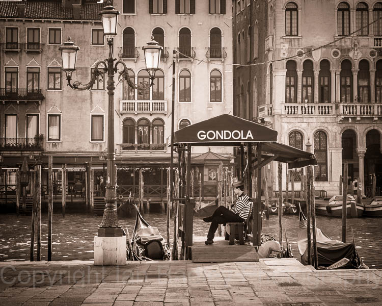 Gondoleer waiting in Venice, Italy